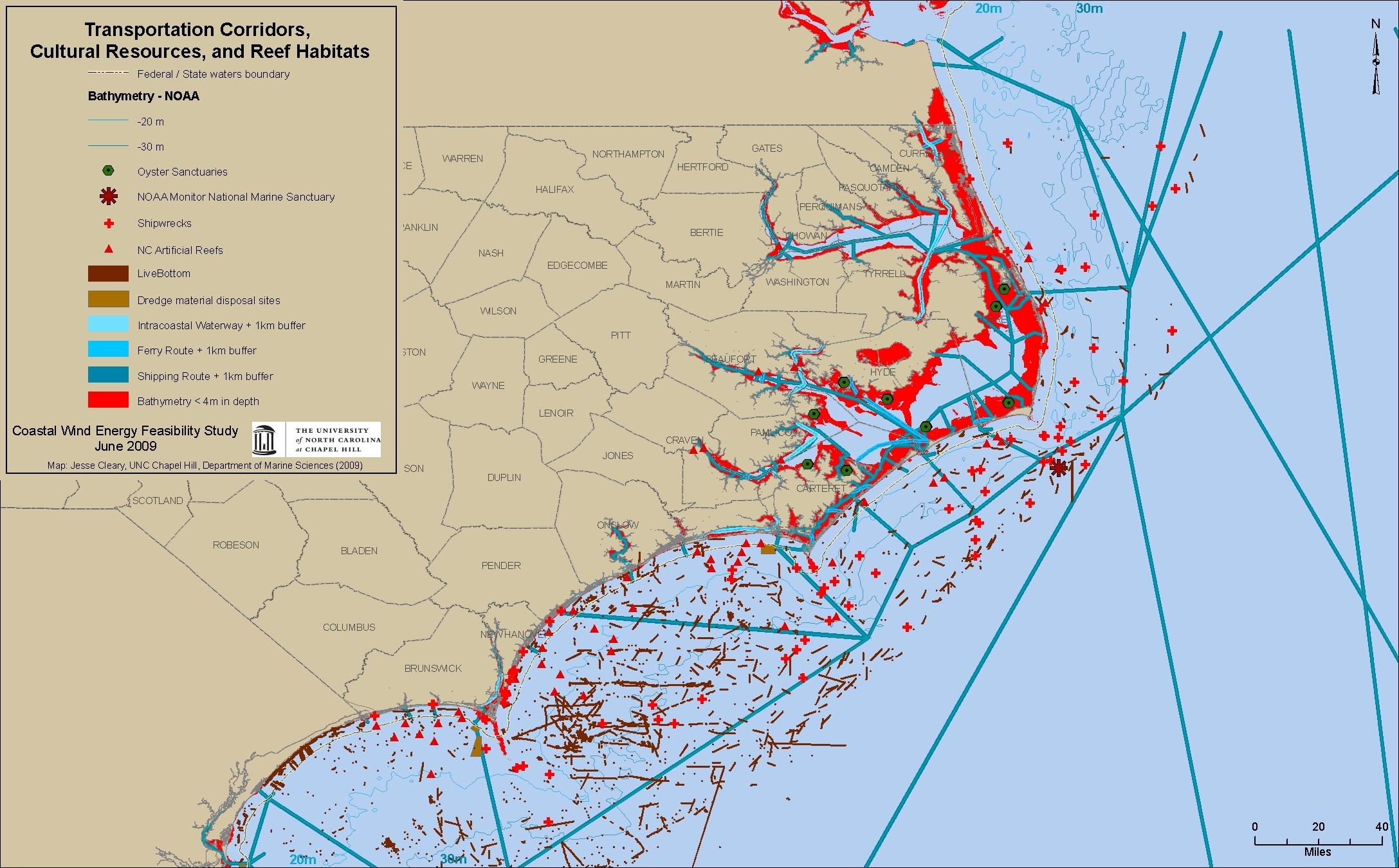 Transportation Corridors, Cultural Resources, and Reef Habitats