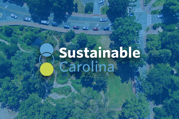 Visual of Sustainable Carolina Logo overlaid onto a drone photo of Battle Grove.
